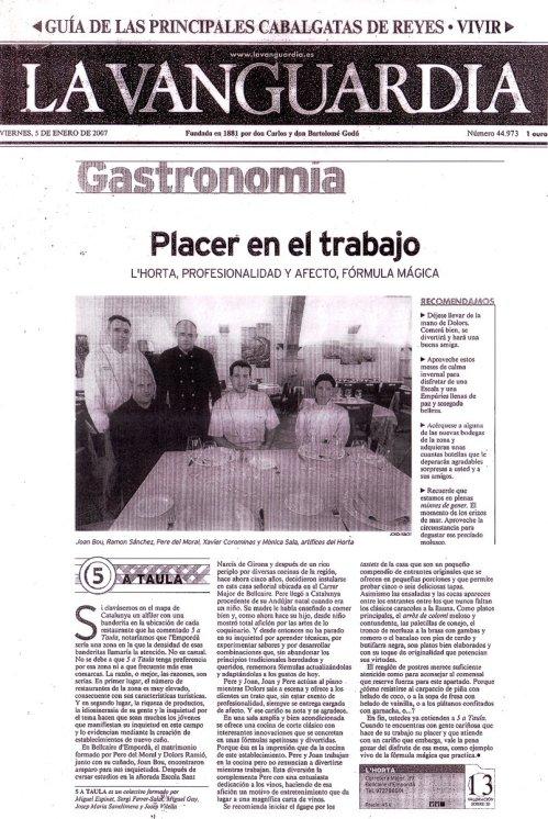 La Vanguardia gastronomía / 5 a taula